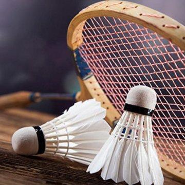 12 Stück Badminton Bälle, Gänsefeder Badminton Federbälle Shuttle Mit hoher Stabilität und Haltbarkeit Gänsefedern Federball Shuttlecocks Indoor Outdoor Sport Training Badmintonbälle - 6