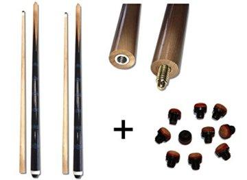 2xBillardqueue zweiteilig in toller schwarz-blauer Optik+10 Ersatzschraubleder - 1