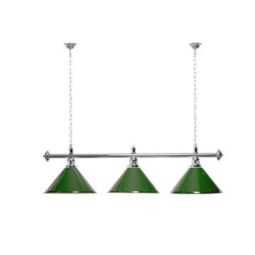 Billardlampe 3 Schirme grün / silberfarbene Halterung - 1