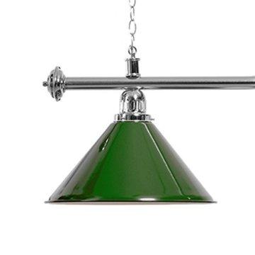 Billardlampe 3 Schirme grün / silberfarbene Halterung - 2