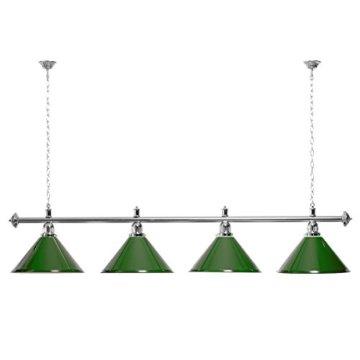 Billardlampe 4 Schirme grün / silberfarbene Halterung - 1