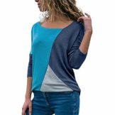 FeiBeauty Mode Frauen Casual Patchwork Farbblock Oansatz Langarm T-Shirt Bluse Top - 1