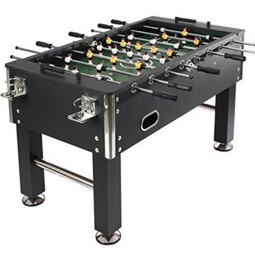 Jago Tischfussball Tischkicker (Farbwahl) Chromoptik Höhenverstellbare Standfüße inkl. 4 Getränkehalter und 4 Spielbälle (Schwarz) - 2