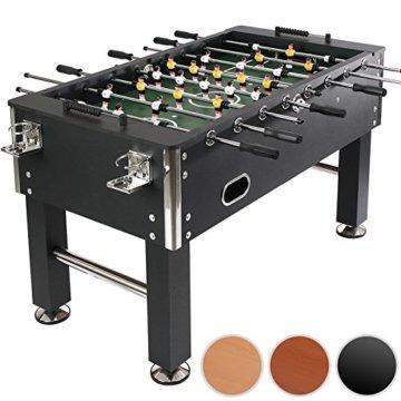 Jago Tischfussball Tischkicker (Farbwahl) Chromoptik Höhenverstellbare Standfüße inkl. 4 Getränkehalter und 4 Spielbälle (Schwarz) - 1