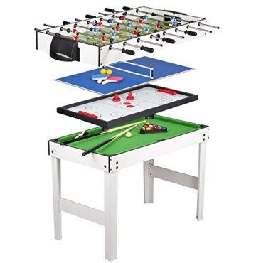Leomark Multigame Spieletisch Billiard Hockey Tischtennis 4in1  Multifunktionstisch Multiplayer Inkl. Komplettem Zubehör Ab 8 Jahre - 1