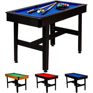 """Maxstore 4 ft Billardtisch """"COMPACT"""" + Zubehör, 3 Farbvarianten, 122x61x76 cm (LxBxH), Schadstoffgeprüft, schwarzes Holzdekor, Blaues Tuch - 1"""