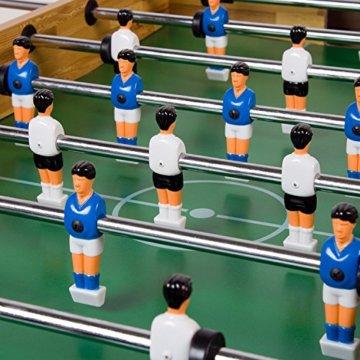 """Maxstore Tischfussball """"Glasgow"""", 4 Dekore: Holz/Schwarz / Blau/Soccer, inkl. 2 Bälle, 2 Getränkehalter, höhenverstellbare Füße, hochgezogene Spielfeldecken, Tischkicker, Kicker, Kickertisch - 4"""