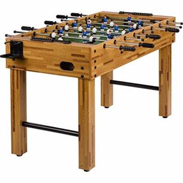 """Maxstore Tischfussball """"Glasgow"""", 4 Dekore: Holz/Schwarz / Blau/Soccer, inkl. 2 Bälle, 2 Getränkehalter, höhenverstellbare Füße, hochgezogene Spielfeldecken, Tischkicker, Kicker, Kickertisch - 1"""