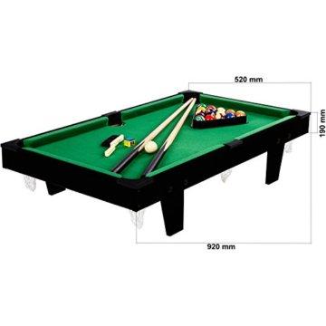 Mini Pool Billardtisch inkl. Zubehör (2 Queues, Kugeln, Dreieck, Kreide, Bürste), 3 Dekore, Maße: 92x52x19cm - 2