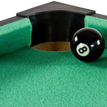 Mini Pool Billardtisch inkl. Zubehör (2 Queues, Kugeln, Dreieck, Kreide, Bürste), 3 Dekore, Maße: 92x52x19cm - 4