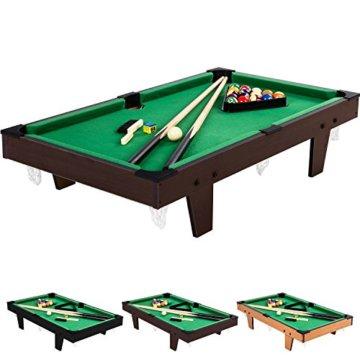 Mini Pool Billardtisch inkl. Zubehör (2 Queues, Kugeln, Dreieck, Kreide, Bürste), 3 Dekore, Maße: 92x52x19cm - 1
