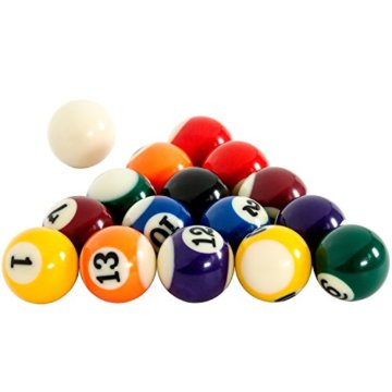 Mini Pool Billardtisch inkl. Zubehör (2 Queues, Kugeln, Dreieck, Kreide, Bürste), 3 Dekore, Maße: 92x52x19cm - 5