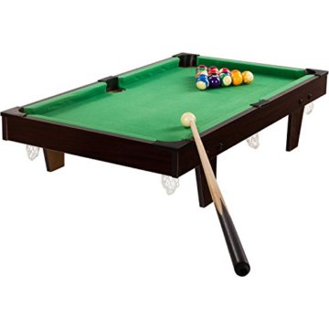 Mini Pool Billardtisch inkl. Zubehör (2 Queues, Kugeln, Dreieck, Kreide, Bürste), 3 Dekore, Maße: 92x52x19cm - 7