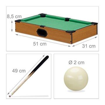 Relaxdays Tischbillard, Billardtisch in Holz-Optik, mit 2 Queues, Kugeln, Dreieck und Kreide, B x T: 51 x 31 cm, grün - 2