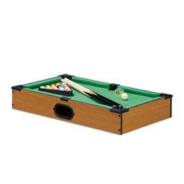 Relaxdays Tischbillard, Billardtisch in Holz-Optik, mit 2 Queues, Kugeln, Dreieck und Kreide, B x T: 51 x 31 cm, grün - 1