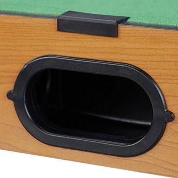 Relaxdays Tischbillard, Billardtisch in Holz-Optik, mit 2 Queues, Kugeln, Dreieck und Kreide, B x T: 51 x 31 cm, grün - 5